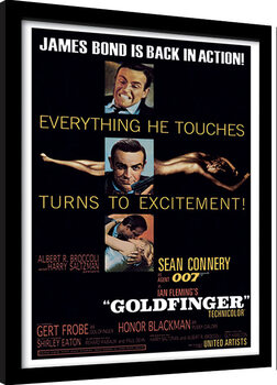 Innrammet plakat James Bond - Goldfinger - Excitement