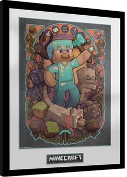 Innrammet plakat Minecraft - Steve Nouveau
