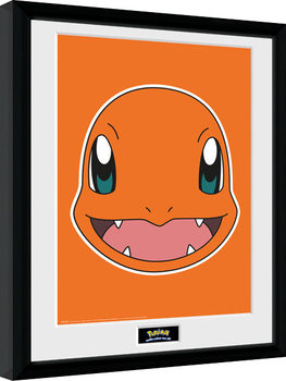Innrammet plakat Pokemon - Charmander Face
