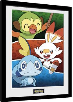 Innrammet plakat Pokemon - Galar Starters