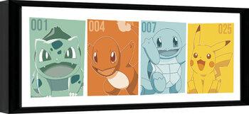 Innrammet plakat Pokemon - Kanto Partners