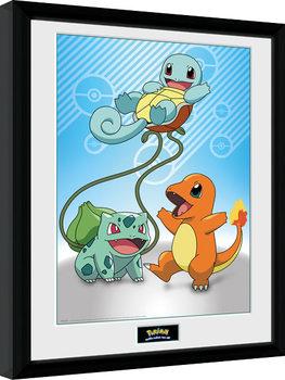 Innrammet plakat Pokemon - Kanto Starter