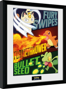Innrammet plakat Pokemon - Moves