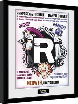 Innrammet plakat Pokemon - Team Rocket