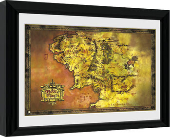 Innrammet plakat Sagan om ringen - Middle Earth