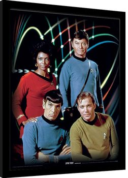 Innrammet plakat Star Trek - Kirk, Spock, Uhura & Bones