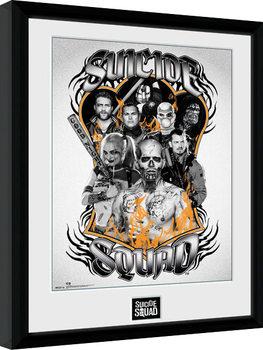 Innrammet plakat Suicide Squad - Group Orange Flame