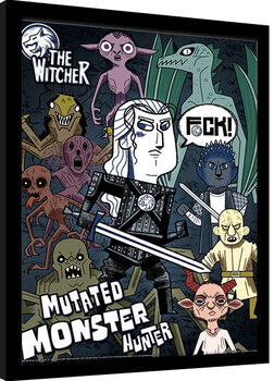 Innrammet plakat The Witcher - Mutated Monster Hunter