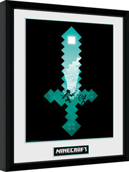 Minecraft - Diamond Sword Innrammet plakat