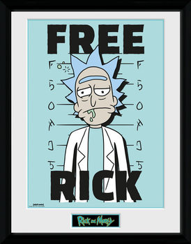 Rick and Morty - Free Rick Innrammet plakat