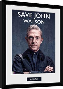 Sherlock - Save John Watson Innrammet plakat