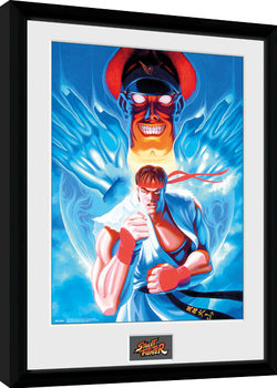 Street Fighter - Ryu and Bison Innrammet plakat