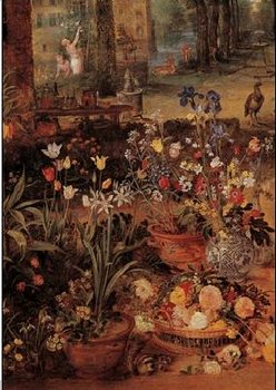 Jan Brueghel the Younger - Garden with flowers Festmény reprodukció