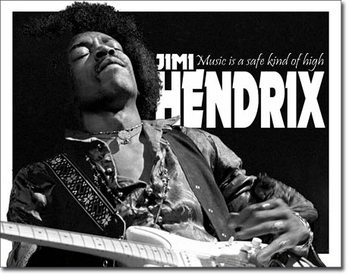 Jimi Hendrix - Music High Metalen Wandplaat