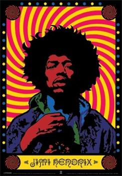 Jimi Hendrix - psychedelic 3D - плакат (poster)
