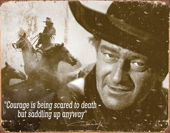 John Wayne - Courage Metalen Wandplaat
