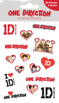 ONE DIRECTION - hearts with glitter Klistremerke