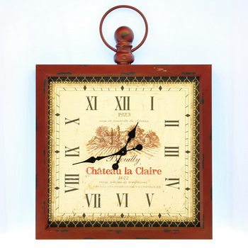 Design Clocks - Chateau la Claire / in red frame klok