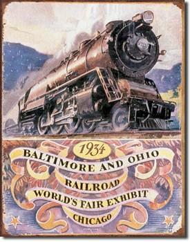 B&O RAILROAD 34 - worlds fair Kovinski znak