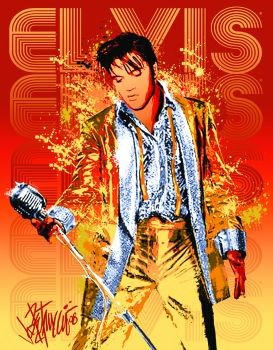 EVIS PRESLEY - gold lame suit Kovinski znak