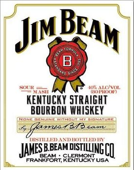 JIM BEAM - white label Kovinski znak
