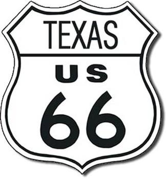 ROUTE 66 - texas Kovinski znak