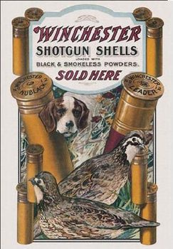 WIN - dog & quail Kovinski znak