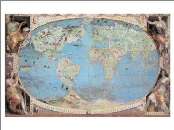 Historische Wereldkaart - Wandkaart Kunstdekor
