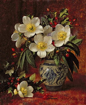 AB249 Still Life of Christmas Roses and Holly Kunsttrykk