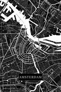 Kart over Amsterdam black