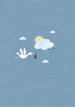 Illustrasjon Baby boy stork