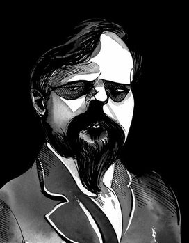 Claude Debussy, French composer , grey tone watercolour caricature, 1996 by Neale Osborne Kunsttrykk