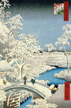 Drum bridge and Setting Sun Hill at Meguro, from the series '100 Views of Edo', pub. by Uoya Eikichi, 1857, Kunsttrykk