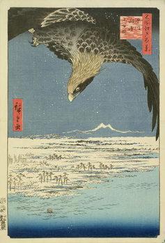 Eagle Over 100,000 Acre Plain at Susaki, Fukagawa ('Juman-tsubo'), from the series '100 Views of Edo' ('Meisho Edo hyakkei'), pub. by Uoya Eikichi, 1857, (colour woodblock print) Kunsttrykk
