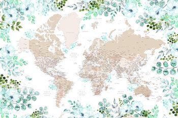 Illustrasjon Floral bohemian world map with cities, Leanne