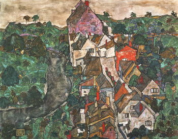 Landscape at Krumau, 1910-16 Kunsttrykk