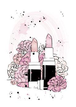 Illustrasjon Lipstick Peonies