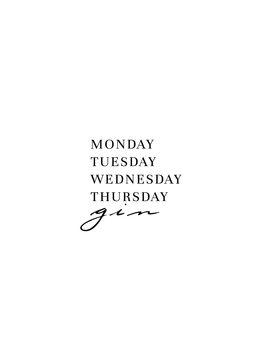 Illustrasjon Monday Tuesday gin