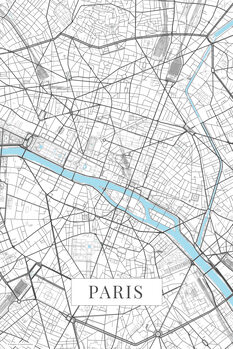 Kart over Paris white