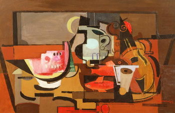 Still life with a slice of Watermelon, c.1929 Kunsttrykk