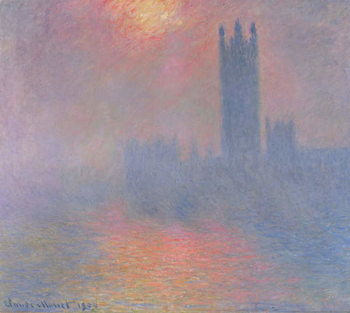 The Houses of Parliament, London, with the sun breaking through the fog, 1904 Kunsttrykk