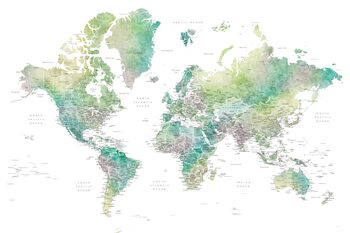 Illustrasjon Watercolor world map with cities in muted green, Oriole