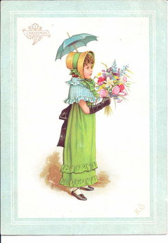 A Victorian greeting card of children in fancy costume dancing, c.1880 Kunsttrykk