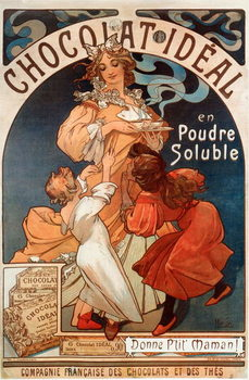 "Advertising poster by Alphonse Mucha  for chocolate ""Chocolate Ideal"" 1897- Advertising poster by Alphonse Mucha for ""Chocolate ideal"" Dim 78x117 cm 1897 Private collection Kunsttrykk"