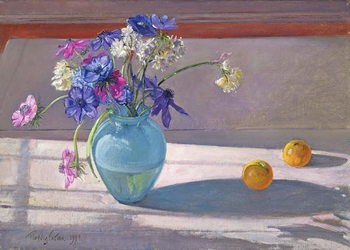 Anemones and a Blue Glass Vase, 1994 Kunsttrykk