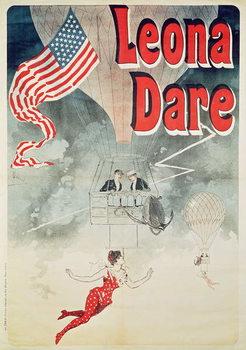 Ballooning: `Leona Dare' poster, 1890 Kunsttrykk