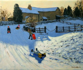 Children Sledging, Monyash, Derbyshire Kunsttrykk