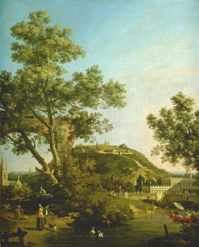 English Landscape Capriccio with a Palace, 1754 Kunsttrykk