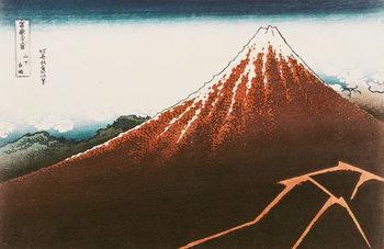 Fuji above the Lightning', from the series '36 Views of Mt. Fuji' ('Fugaku sanjurokkei') (coloured woodblock print) Kunsttrykk