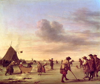 Golfers on the Ice near Haarlem, 1668 Kunsttrykk